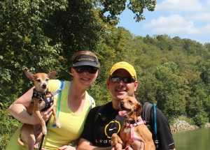 My husband and I with our 2 dogs on a hike